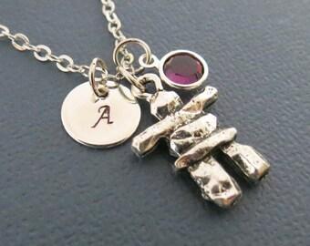 Inukshuk Necklace, Birthstone Crystals, Monogram Inukshuk Necklace, Personalized Necklace, Antique Silver Inukshuk