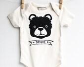 Brave Bear -  hand printed organic baby bodysuit