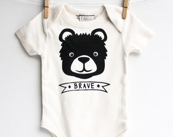 Brave Bear - organic baby bodysuit, gender neutral, cute baby gift, eco-friendly clothing, shower present, hand printed, new baby present