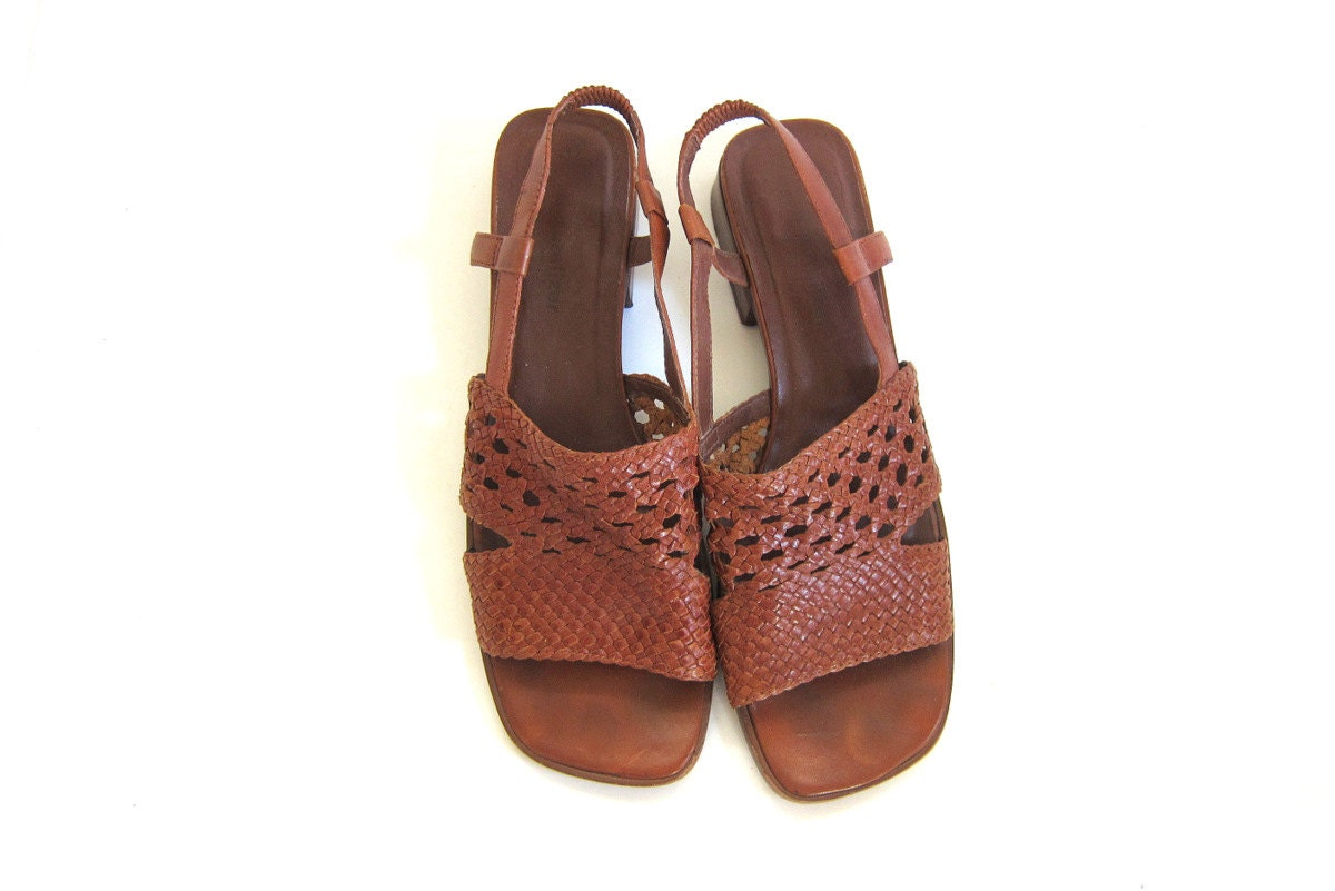 Vintage Brown Leather Sandals Braided Leather Shoes Strappy