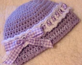 CROCHET PATTERN Headband Beanie Ribbon baby girl girls hat cloche 0 to 6 mo skill level intermediate