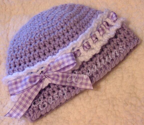 Crochet Baby Hat With Ribbon Pattern : CROCHET PATTERN Headband Beanie Ribbon baby girl by ...
