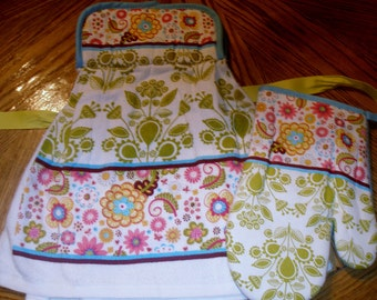Floral Daisy Spring Print Pot Holder Topped Kitchen Towel Set