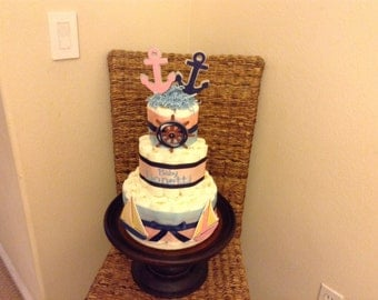 Nautical Gender Reveal Diaper Cake baby shower centerpiece other styles and sizes colors available