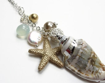 Barefoot On The Beach Collection- Seashell Starfish Charm Cluster Necklace - Two Tone Nugget Coin Pearl Silver - White Summer Long Necklace