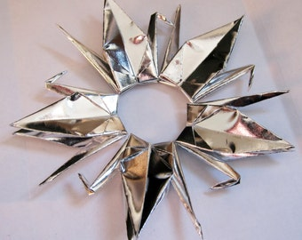 """20 or 40 Origami Paper Cranes in Metallic Silver - 3"""" or 6"""" available"""