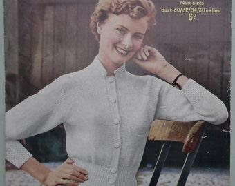 Vintage 1940s 1950s Knitting Pattern Women's Cardigan 40s 50s original pattern Sirdar No. 1645 UK