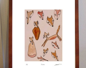 Foxes - quirky A4 print of leaping and dancing fox illustrations