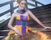 Mardi Gras Costume, Women's Bustier, Mardi Gras Clothing, Women's Corset Top, Bustier Top, Purple Gold and Green Clothing