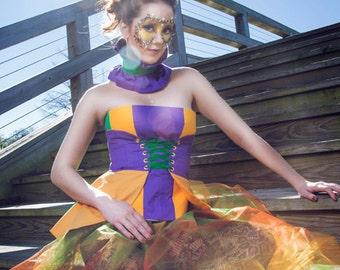 Mardi Gras Bustier Corset, Bustier Top, Corset Top, Mardi Gras Costume, Women's Mardi Gras Top