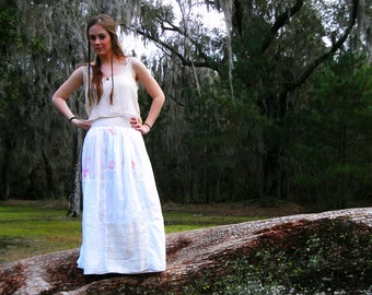 Maxi Skirt, Boho Skirt, Festival Clothing, White Skirt, Bohemian Clothing, Long Skirt