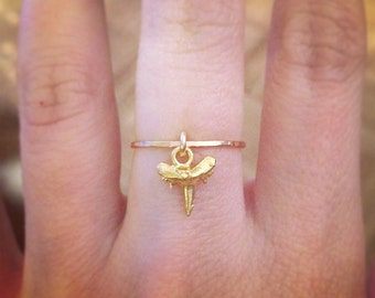 Gold Sharktooth Charm Stacker Ring