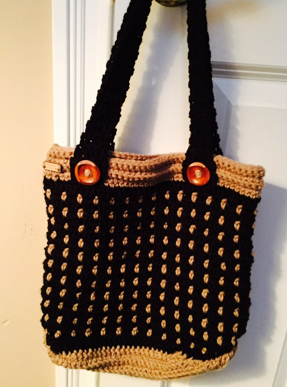 Black and Tan Tote/Bag in Soft Worsted with Square Wooden Buttons