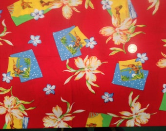 2 Yards 60 Wide VTG 80s hawaiian floral print rayon challis -dressmaking fabric