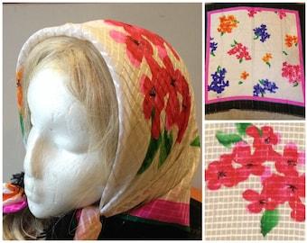 80s Flora Kung silk floral print scarf