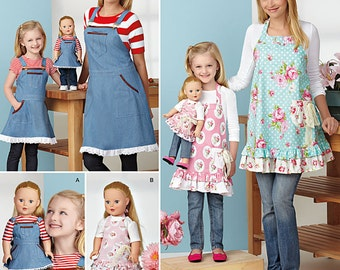 MATCHING APRONS PATTERN / Mom - Daughter - American Girl Doll Aprons / Several Sizes