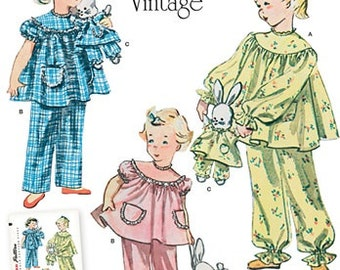 GIRLS PAJAMA PATTERN / Make Child's Vintage Style Pjs / Fifties Styles In Sizes 3 To 8