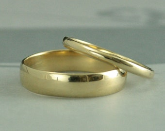 Gold Wedding Set--His and Hers Wedding Rings--10K Gold Traditional Rounded Bands--Half Round Plain Bands--Handmade and Recycled Rings