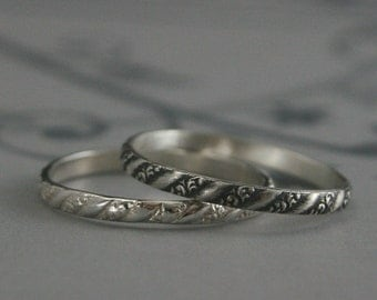 Silver Stacking Ring--Versailles Pattern Band--Women's Silver Wedding Ring--Vintage Style Wedding Band--Petite Silver Band--Thin Silver Ring