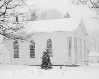 Winter Photograph, Snow Photo, Wall Decor, Church Print, New England, Fine Art Photography, Rustic, Black and White, Grey, Farmhouse Decor