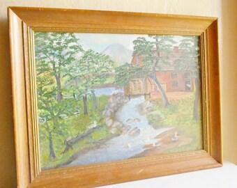 Vintage Wood Framed Original Painting of Nature River Scene Lumbermill Trees