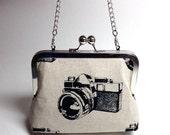 Kisslock Clutch Purse - Medium - Retro Camera