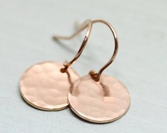 Rose gold earrings - hammered earrings - rose gold disc earrings - rose gold jewelry - circle earrings - minimalist earrings - Sea & Cake