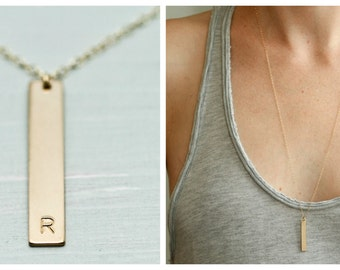 Gold bar necklace - dainty gold necklace - gold initial necklace - simple gold necklace - delicate gold jewelry - personalized gift for her