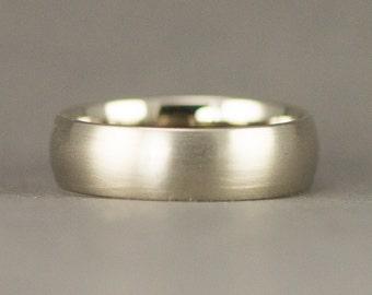 Mens White Gold Wedding Ring - Size 10.5 Men's Ring -  14k 6mm Half Round Band - Ready to Ship