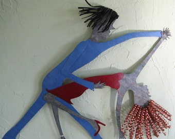 "Metal Sculpture Wall Art Latin Dance Decor ""Antonia and Raoul"" Recycled Metal Blue Red Dancer Wall Art 18 x 21"
