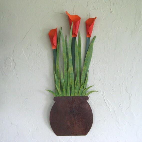 metal art flowers wall sculpture calla by frivoloustendencies. Black Bedroom Furniture Sets. Home Design Ideas
