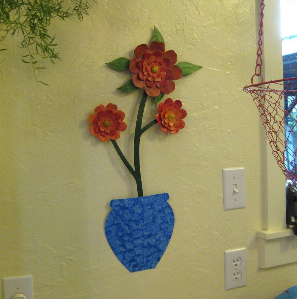 Metal Wall Art Flower Sculpture Large Metal Camellia Blue Vase