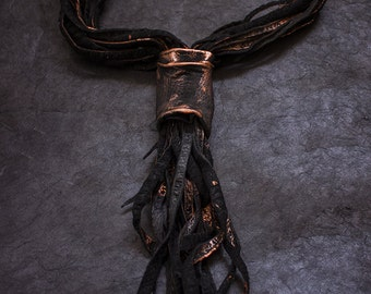 Stylish lariat leather necklace Copper color Unique leather jewelry