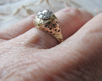 NeedBrakesSale Danusharose Vintage Jabel 14K TriGold Rose Gold YG WG 7 Diamond Cluster Floral Engagement Ring Set  plus Fine Jewelry Report