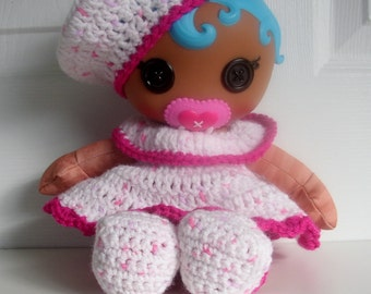 Lalaloopsy Babies Handmade four piece Layette Set with Beret, Dress, Panties and Booties in pink and fuchsia