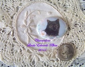 Cameo Darling 40x30 Cat Oval in Flowers Porcelain Fired Hand Applied Decal ECS