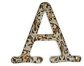 Chipboard letter A, 4 inch embossed letter, paper accents, wall decor, table decor, wedding decoration, custom sayings, names