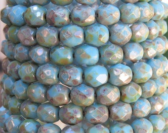 6mm Faceted Opaque Blue Turquoise Silver Picasso Czech Firepolish Glass Beads - Qty 25 (DW113)