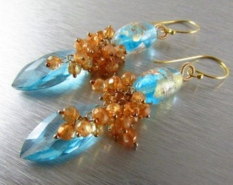 Lampwork and Blue Quartz Gemstone Earrings - Cluster Lamp Work and Gold Filled  Earrings