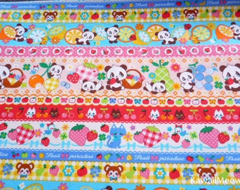 Kawaii Japanese Fabric - Striped Pattern Pandas Animals Fruit on Pink - Fat Quarter - (ha141107)