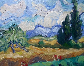 "Daily Painting, Small Oil Painting, Small Landscape, VanGogh painting, ""Tribute to Vincent"", 6x8"" Oil landscape"