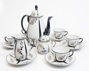 Rare RW Bavaria Silver Luster Tea Set with Butterflies and flowers