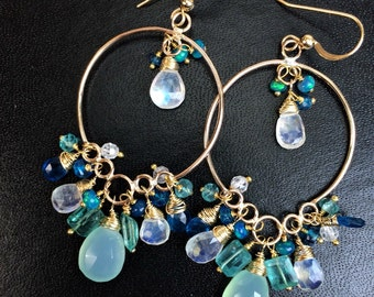 Aqua Gold Hoop Long Chandelier Earrings 14k Gold Filled Wire Wrap Teal Aqua Green Blue Multicolor Gemstone Handmade Long Earrings