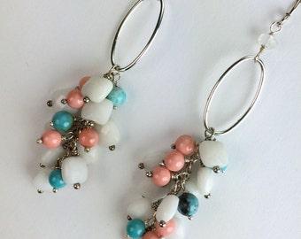 Multicolor Dangle Earrings Sterling Silver Turquoise, Coral, White Agate Cluster Earrings Sterling Silver Hoop Earrings