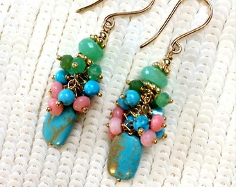 Turquoise Earrings Pink Coral Chrysoprase Cluster Petite Earrings Wire Wrapped Colorful Gemstone Cluster 14kt Gold Fill Gift for Her