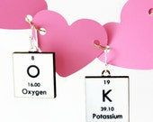 Science Earrings Periodic Table Chemistry Jewelry - White OK - Gift Idea