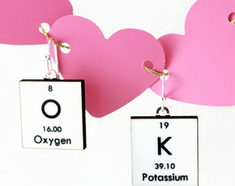 Science Earrings Periodic Table Chemistry Jewelry - White OK - Gift Idea - Valentine's Day!