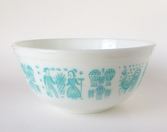Vintage Pyrex Amish Butterprint Mixing Bowl Turquoise/Aqua WHITE #403 2-1/2 Quart