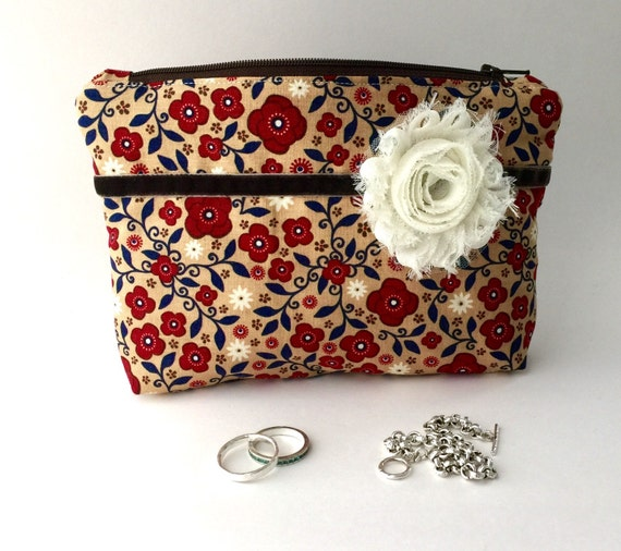 Jewelry bag anti tarnish riley blake fabric red blue for Anti tarnish jewelry bags