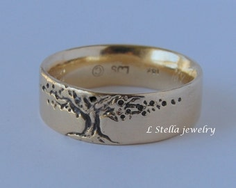 Tree of Life Comfort Fit Wedding Band 14K Gold 8mm wide Men's women's//unisex Red Yellow or White